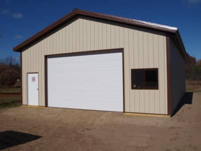 post-frame-constructed garage