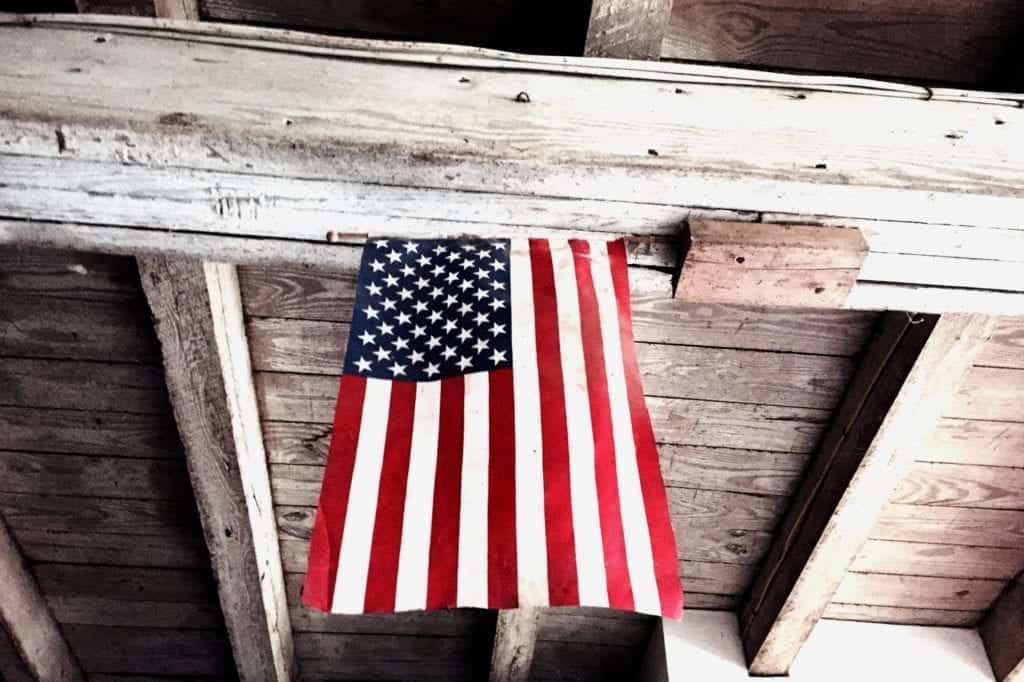 US Flag in Barn